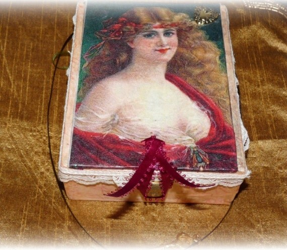 Victorian Style Keepsake Cigar Box  Hand  Embellished  Includes an Artist Trading Card Kit