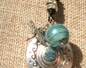 Blue Glass and Dragonfly Charm Necklace