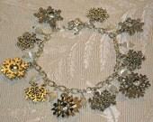 Beautiful Silver and Cat's Eye Snowflake Bracelet
