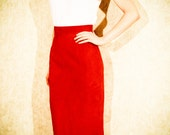 VINTAGE Red Suede HIGH WAISTED Pencil Skirt xs 80s or 90s