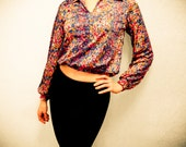 RESERVED for JAZZHER Vintage Crop Top Summer Floral - Balloon Top 1970s 70s Floral