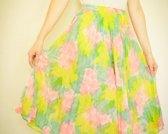VINTAGE Floral Flowy Skirt, Tie Dyed, 70s or 80s, Small Petite