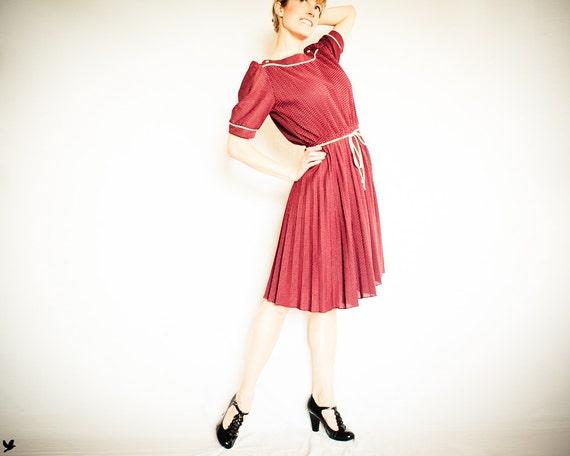 Vintage 1970s Burgundy Polka Dot Dress by MCS Ltd.