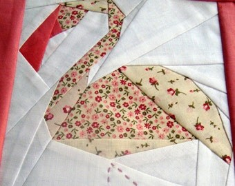 Flamingo, paper pieced quilt pattern, PDF, pink