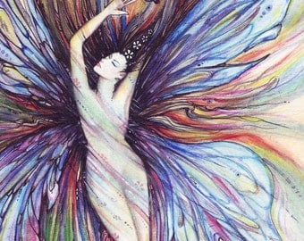 Fairy Art Print with buttterfly from the original watercolor painting by Liza Paizis