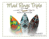 Beading Pattern, Instructions, Tutorial, Shield Shaped Peyote Stitch, Delica Beads, Charted design, Tribal  Instant Download 3 MAD RINGS