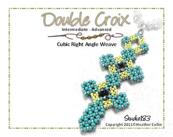 Beading Pattern Cubic Right Angle Weave Medieval Cross Double Statement Cross Tutorial DOUBLE CROIX
