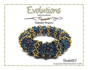 Beading Pattern, Intermediate Tutorial, Tubular Peyote Stitch Large Ethnic Bangle Beading Instructions  EVOLUTIONS