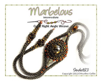 Beading Pattern Cubic Right Angle Weave Lariat with Marble Focal Tutorial MARBELOUS