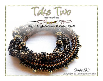 Beading Pattern Right Angle and Cubic Right Angle Weave Thin Bangles Tutorial TAKE TWO