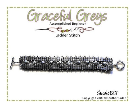 Beading Pattern, Instructions, Tutorial,  Ladder Stitch, 2 needle Weave,4mm cube beads Bracelet Instant Download GRACEFUL GREYS