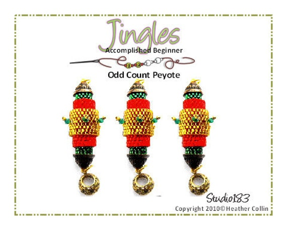 Beading Pattern, Instructions, Tutorial, Peyote Stitch Christmas Tree Decoration, Delica Beads Instant Download JINGLES
