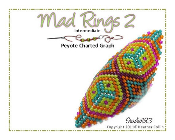 Beading Pattern, Instructions, Tutorial, Shield Shaped Peyote Stitch, Delica Beads, Charted design, Tribal Instant Download MAD RING 2