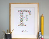 Personalized Monogram F Baby Boys Initial Adorable Wall Art for the Nursery / Print / Poster