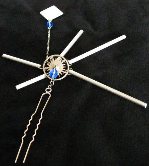 Silver Chimes Hair Fork ver. 2,  with blue faceted glass beads