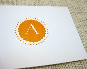 Letter A,  Letterpress stationery Set of 6