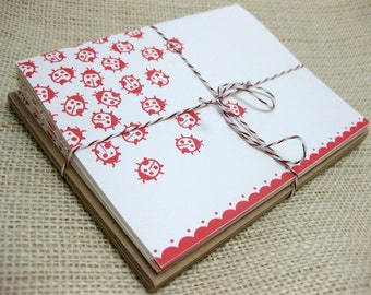Ladybug Note Cards, Graphic, Blank, Thank You Notes, - Set of 6 (A2)