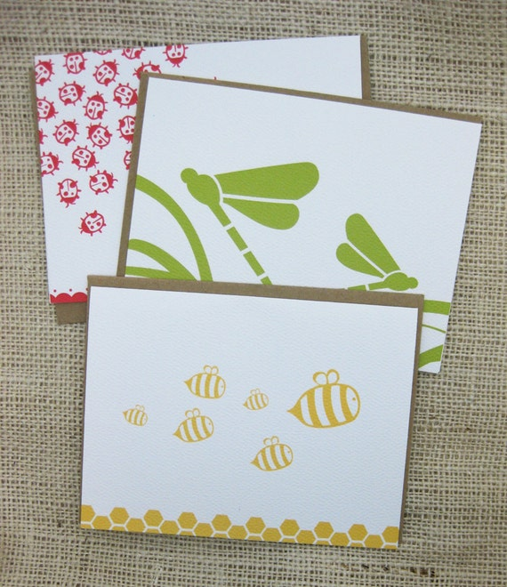 Cute, Lady bugs, Honey Bees, Dragonfly, Thank You, Blank Note Cards- Set of 6 (A2)