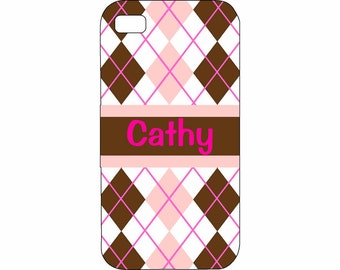 HTC One X Cover Personalized Custom Preppy Arglye Pink Brown Hard Plastic Case