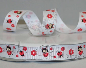 Grosgrain Ribbon Polka dot Ladybug m2mg mtmg 10 yards 7/8""