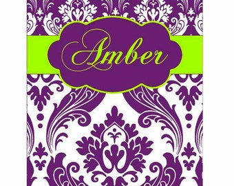 SALE 30% OFF! iPad 2, 3, or 4 Hard Snap on case cover Personalized Custom Damask Green Purple