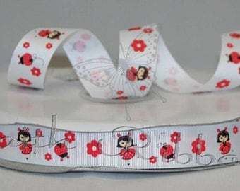 Grosgrain Ribbon Polka Dot Ladybug m2mg mtmg 5 yards 7/8""