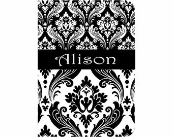 SALE 30% OFF! iPad 2, 3, or 4 Hard Snap on case cover Personalized Custom Damask Black White
