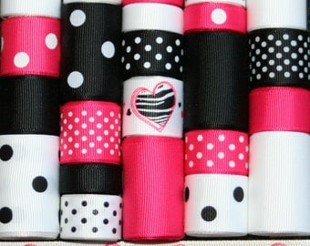 Grosgrain Ribbon Lot MIx 25YDS Zebra Love Black White Shocking Pink