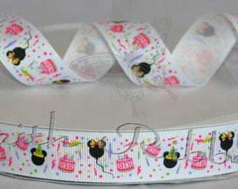"Grosgrain Ribbon Happy Birthday Mickey Minnie Mouse Inspired  5 yards 7/8"""