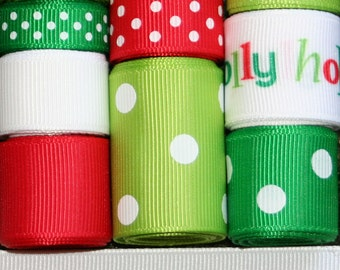 Grosgrain Ribbon Lot Mix Jolly Holiday Christmas Winter 10YDS Red White Emerald & Apple Green