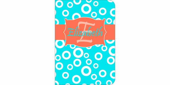 iPad 2, 3, 4, 5 Air, Mini, or NEW Mini Leather case cover Personalized Custom Circles Turquoise Coral