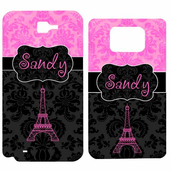 Samsung Galaxy s3, s4, s5 Note, Note 2, Note 3 Personalized Damask Paris Eiffel Tower
