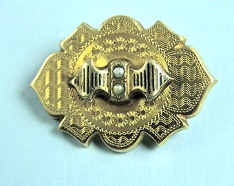 Mid Victorian 18k Gold Pin with Seed Pearls (No. 1171)