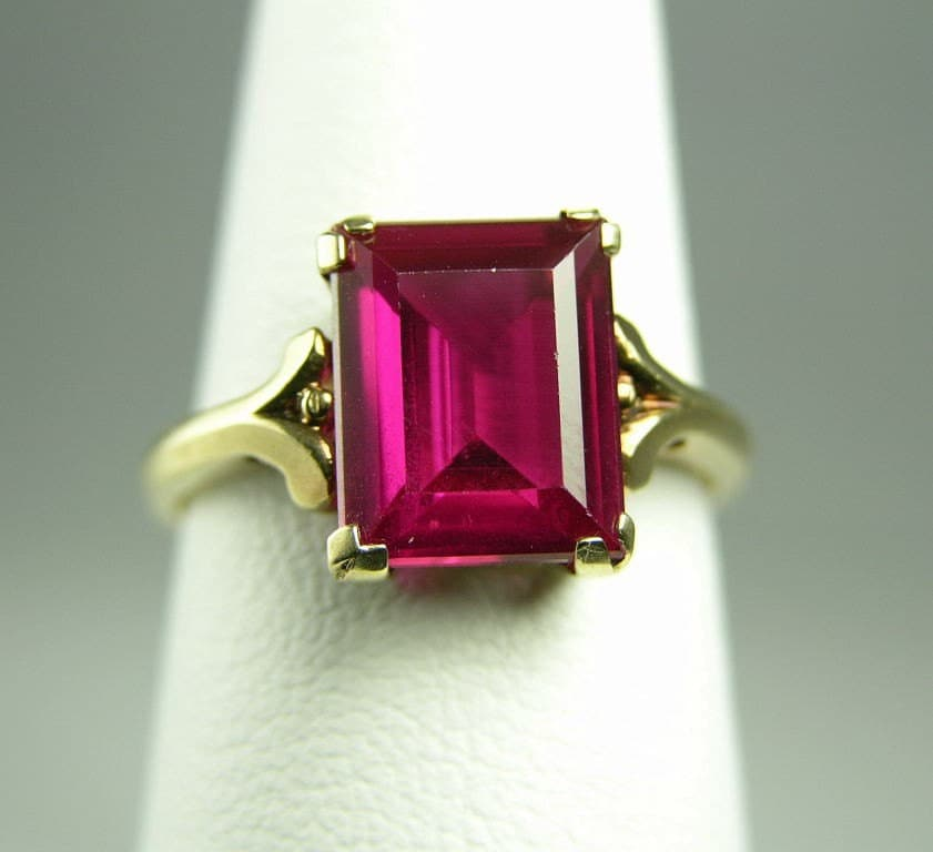 emerald cut ruby ring 10k by foxfirevintagejewelr on etsy