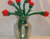 half dozen crochet long stem roses