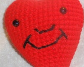 Crochet Stuffed Smiley Heart