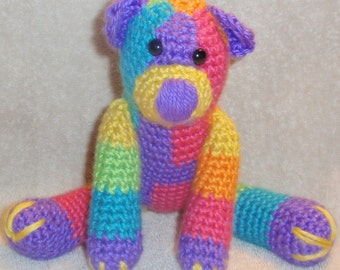 Rainbow Crochet Stuffed Bear