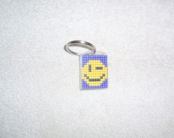 Mosaic Winking Smiley Face Keychain