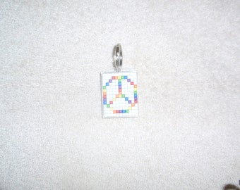 Mosaic Rainbow Peace Sign Keychain