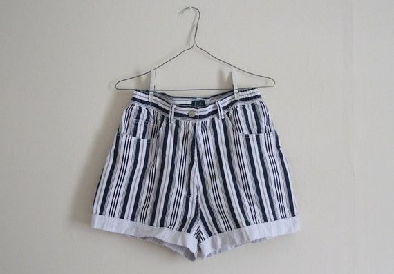 RESERVED. vintage blue and white stripe shorts