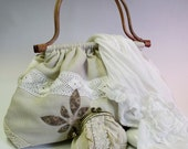 Romantic laced bag with rattan handles