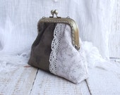 Coin purse handmade laced brown and beige  frame