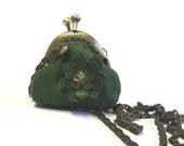 Green leather mini coin purse necklace