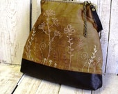 Brown leather and cotton hand embroidered  frame purse