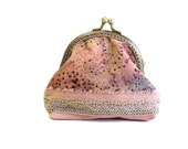 Coin purse rose smoke batic fabric and vintage lace