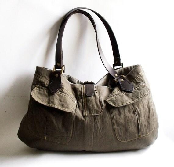 Khaki tote bag shoulder bag or handbag with genuine leather handles