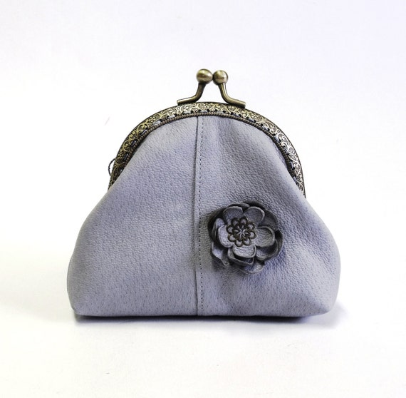 Genuine leather frame coin purse in powder blue color
