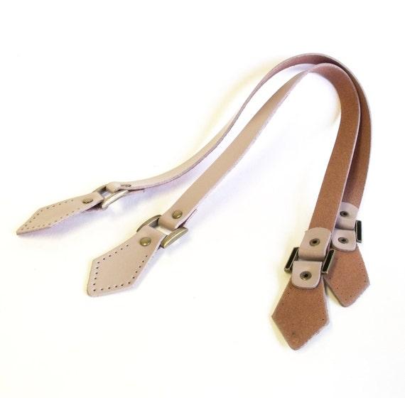 Beige leather bag handles - genuine leather handle 24 inch 1 pair