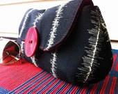 LIMITED EDITION: Stylish Clutch Purse in Black White and a Dash of Fiery Red