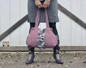 Pink with Grey- RuffleTote Bag- Ready to be shipped- FREE SHIPPING